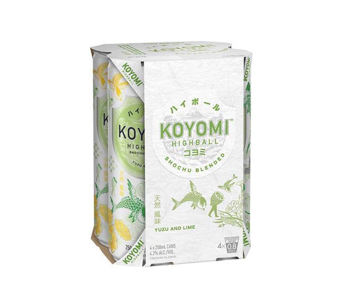 "Koyomi highball shochu, $17.99/4 pack, from [Vintage Cellars](https://www.vintagecellars.com.au/search?q=koyomi|target=""_blank""|rel=""nofollow"")"