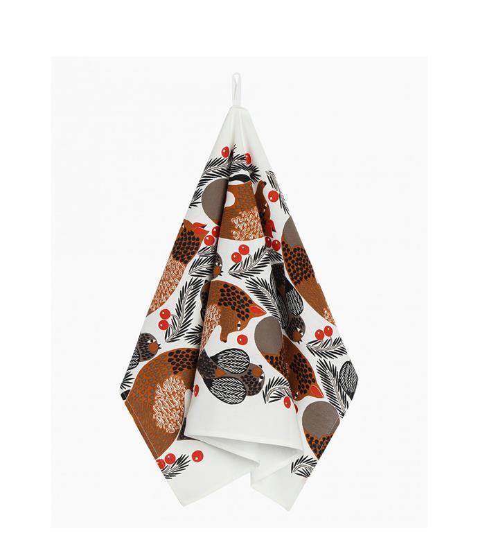 "Ketunmarja kitchen towel, $24.50, from [Marimekko](https://www.marimekko.com/au_en/home-1/all-home-items/ketunmarja-kitchen-towel-47x70cm-white-redbrown-gray-070048-180|target=""_blank""|rel=""nofollow"")"