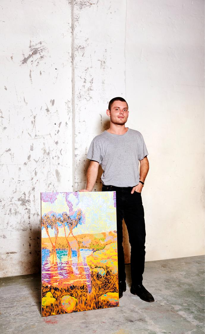 ArtStart 2017 winner Henry Curchod with his work *Land More Bright Than Sky*. Photograph by Alana Landsberry.