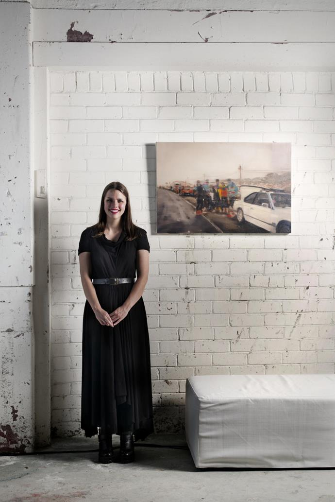 ArtStart 2015 winner Dani McKenzie with her work *Kosciuszko Road*. Photograph by Jonathan Cami.