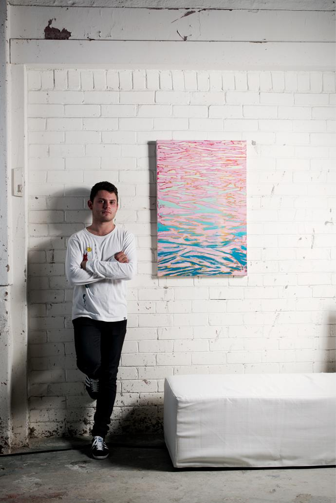 ArtStart 2015 runner-up Henry Curchod with his work *Hope Springs Eternal*. Photograph by Jonathan Cami.