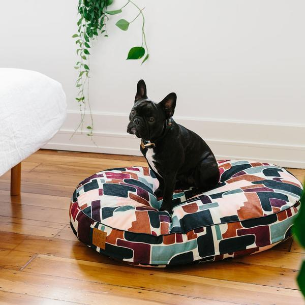"""'Making Shapes' dog bed, $239, [Nice Digs](https://www.nicedigs.com.au/collections/dog-beds/products/making-shapes-dog-bed