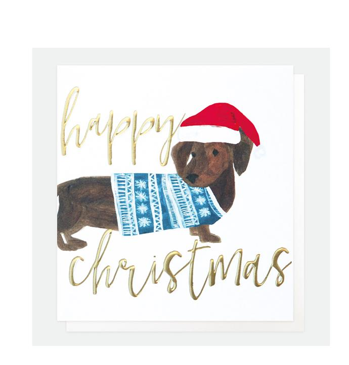 "Sausage dog Christmas card, $19.99/set of 5, from [Living by Design](https://livingbydesign.net.au/products/happy-christmas-sausage-dog-christmas-card?_pos=2&_sid=a0f2115a2&_ss=r|target=""_blank""