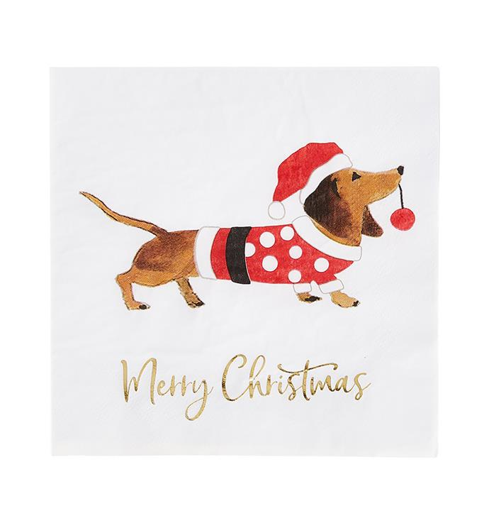"Festive dachshund paper napkins $14.99/set of 20, from [Adairs](https://www.adairs.com.au/homewares/christmas/adairs/festive-dachshund-paper-napkins-pack-of-20/|target=""_blank""