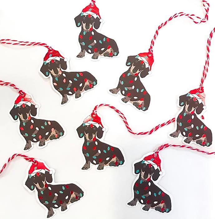 "Dachshund Christmas gift tags, $7.95, from [Finders Keepers Gifts](https://www.finderskeepersgifts.com.au/products/dachshund-christmas-gift-tags?variant=31021653131369&sfdr_ptcid=21388_389_543683758&sfdr_hash=ee39413aebd947d164b965845e6d80f4&gclid=CjwKCAiA8K7uBRBBEiwACOm4d37ETWRqalT91XHNu5b87g_DLTaRttmKERhCGmNh61ex04C0FdWb3RoCAx0QAvD_BwE|target=""_blank""|rel=""nofollow"")"