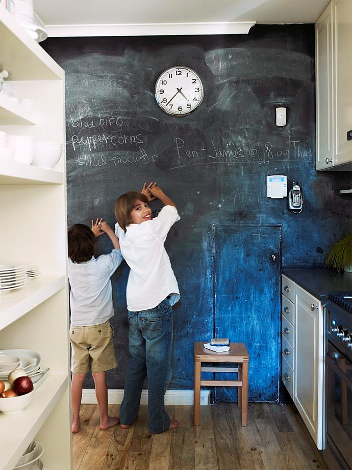 Paint a wall in the kitchen or pantry with chalkboard paint and use it for weekly meal plans and shopping lists.