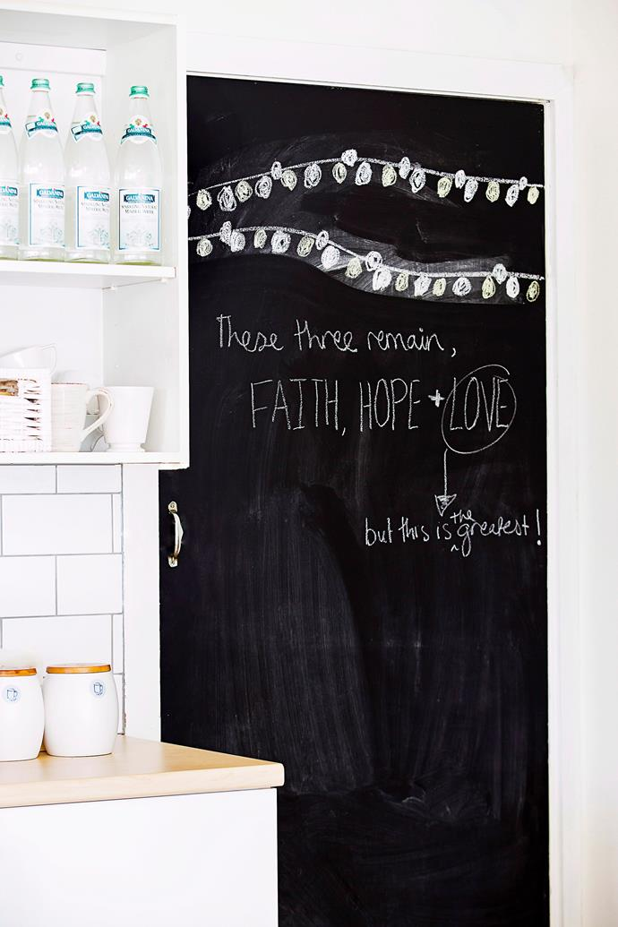 If you don't want to paint a whole wall, the back of a door is the perfect place to create a chalkboard for messages and lists.