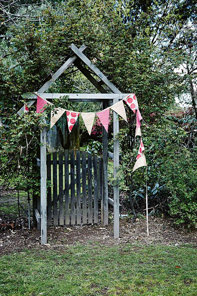 Festive bunting on the arbour.