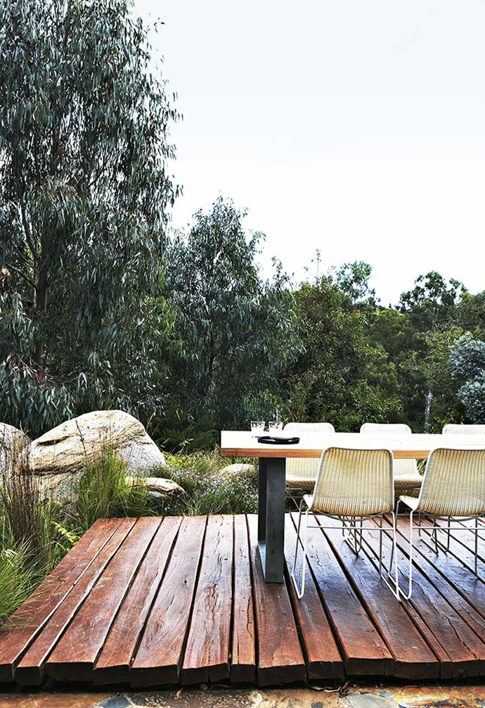 """When full, water spills over a smooth granite boulder from the top billabong, falling a drop of seven metres into the second pool, with any excess channelled into the stormwater system. A [solar-powered](https://www.homestolove.com.au/solar-power-home-benefits-20374