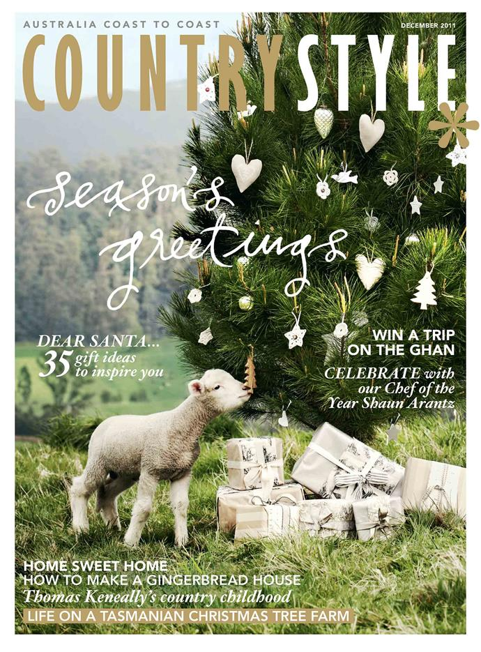 """**2011**<p> <p>Our 2011 Christmas cover boy was Bernard the lamb. On this day, he was visiting [Killiekrankie Christmas Tree Farm](https://www.homestolove.com.au/christmas-tree-farm-near-me-9977