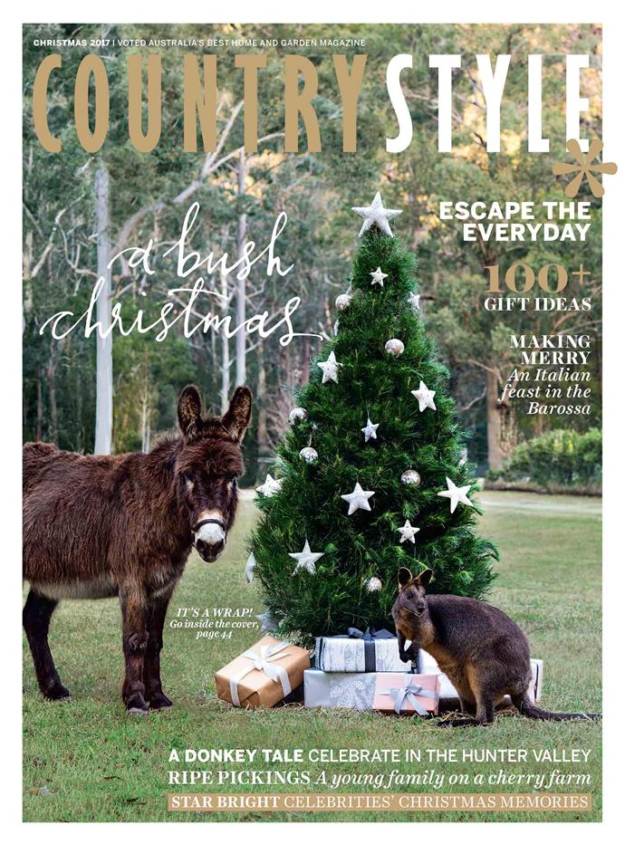 **2017**<p> <p>In 2017, we took a drive to interior stylist Emma Blomfield's country home. On location in the Hunter Valley region, the family's pet donkey Toby, along with Cracker the resident wallaby, struck a pose.<p>  <p>