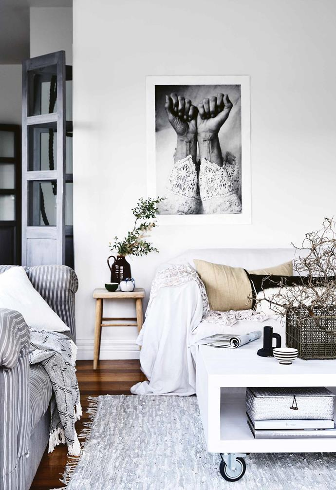 "**Do you have a 'go-to' white that you used on the house?** <br><br>We've [tried a lot of whites](https://www.homestolove.com.au/best-white-paint-interior-walls-18257|target=""_blank"") and a lot of them miss the mark because they are too cold, or have overtly pink or yellow undertones. Our favourite is [Haymes Paint Magnolia Moonlight](http://www.haymespaint.com.au/