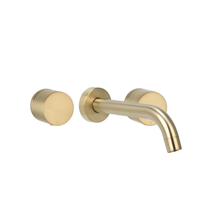 "Milani Assembly Taps & Spout Set in Brushed Brass, $336.80, [ABI Interiors](https://www.abiinteriors.com.au/shop/bathroom-tapware/brushed-brass-tapware/|target=""_blank""