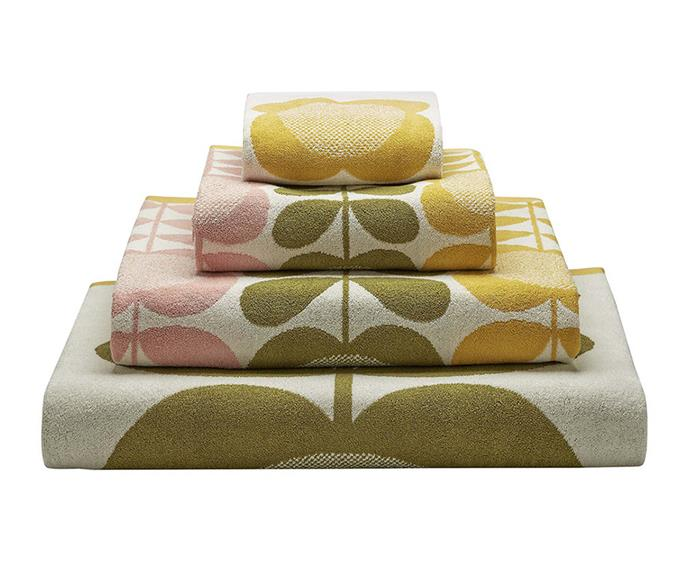 "Orla Kiely Summer Flower Stem Towels, $9-$77 at [Amara](https://www.amara.com/au/products/summer-flower-stem-towel-lemon-yellow-hand-towel|target=""_blank""