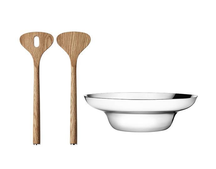 "Alfredo bowl and salad servers, $99, from [Georg Jensen](https://www.georgjensen.com/en-au/dining-and-bar/kitchenware/alfredo-bowl-and-salad-servers/3586207.html|target=""_blank""|rel=""nofollow"")"