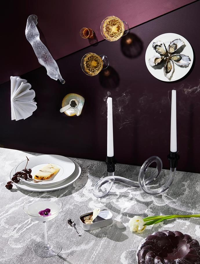 Jasper Conran 'Pin Stripe' plates, $249/five-piece place setting, from Wedgwood. 'Elegance Belle' coupe, $99.95/pair, from Waterford. Rope bowl in Merlot, $1299, from Greg Natale. Lalique 'Zeila Panther' figurine, $3200, from Palmer & Penn. Mother-of-pearl plate, $29.95, and caviar spoon, $13.50, both from Simon Johnson. 'Lismore Essence' champagne saucers, $249/pair, from Waterford. 'Opera' pressed crystal shot glass, $8, from The DEA Store. 'Intaglio' side plate, $149/five-piece place setting, from Wedgwood.