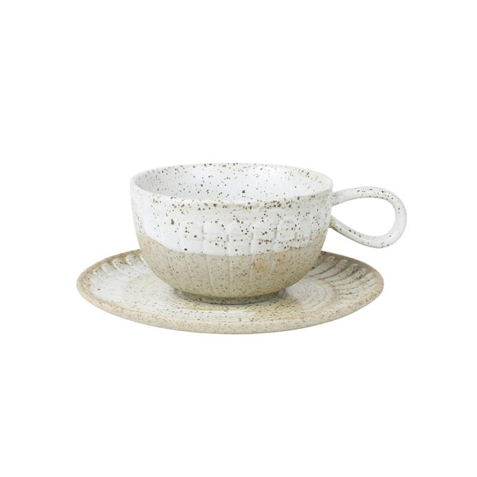 "Cup & Saucer in White Ceylon, $24.95, [Robert Gordon](https://www.robertgordonaustralia.com/collections/imported-mugs/products/cup-saucer-white-ceylon|target=""_blank""