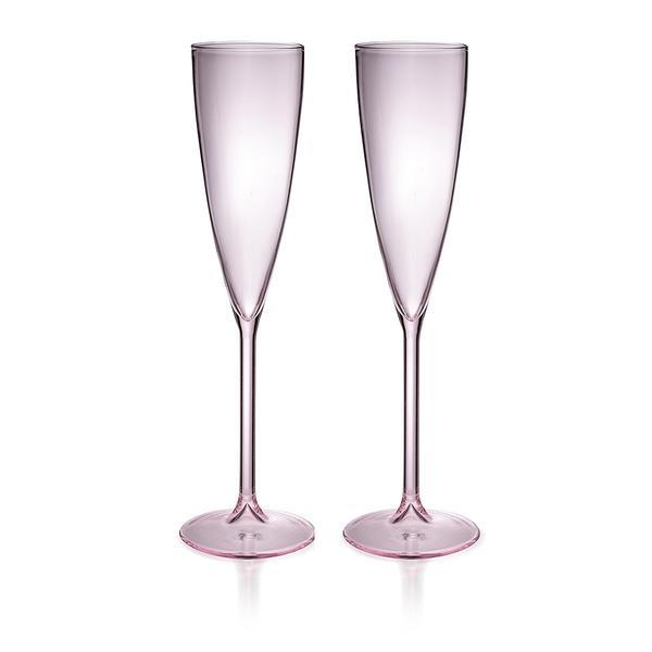 "Champage flûtes in Pink, $79 (set of 2), [Maison Balzac](https://www.maisonbalzac.com/products/2flutespink-69|target=""_blank""