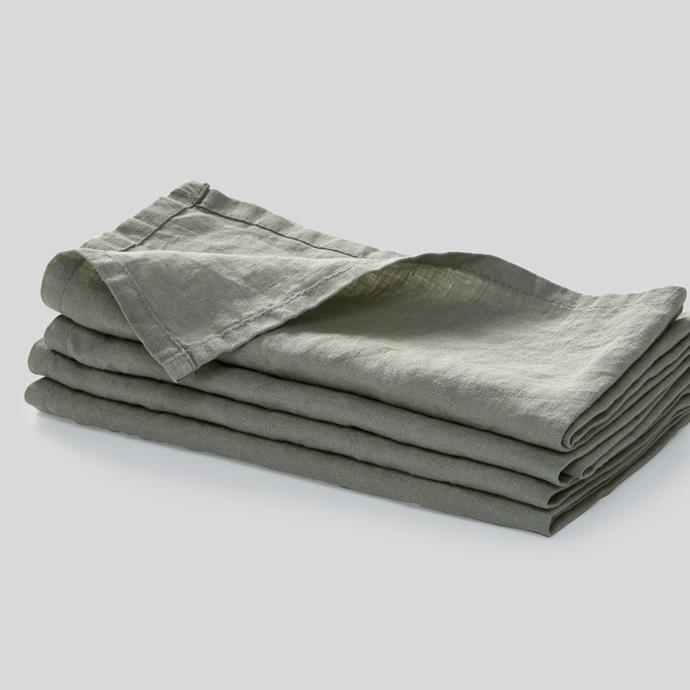 "100% Linen Napkin Set in Stone, $40, [In Bed](https://inbedstore.com/collections/napkins/products/100-linen-napkin-set-in-stone|target=""_blank""