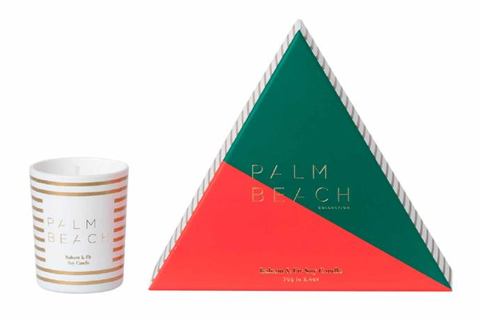 "Christmas balsam & fir mini candle, $16.95, from [Palm Beach](https://palmbeachcollection.com.au/product/balsam-fir-mini-candle/|target=""_blank""|rel=""nofollow"")."
