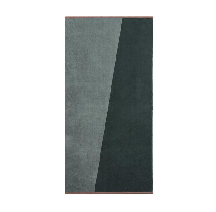 """Mette Ditmer shades bath towel in pine green, $72.00, [Oliver Thom](https://oliverthom.com.au/collections/towels/products/shades-bath-towel-pine-green