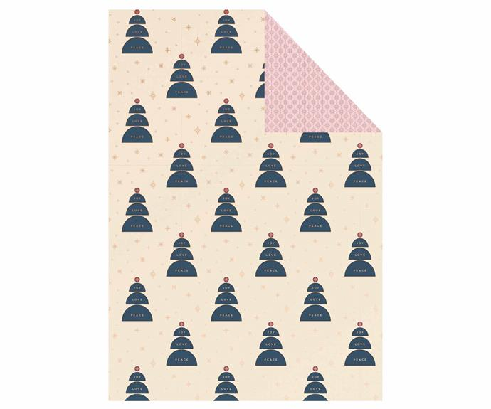 "Wrapping paper individual luxe multi: Christmas, $5.99/sheet, [Kikki K](https://www.kikki-k.com/au/christmas/cards-wrap-and-trim/wrapping-paper-individual-luxe-multi-christmas-11502501.html?cgid=gifts-cards_wrap_trim|target=""_blank""