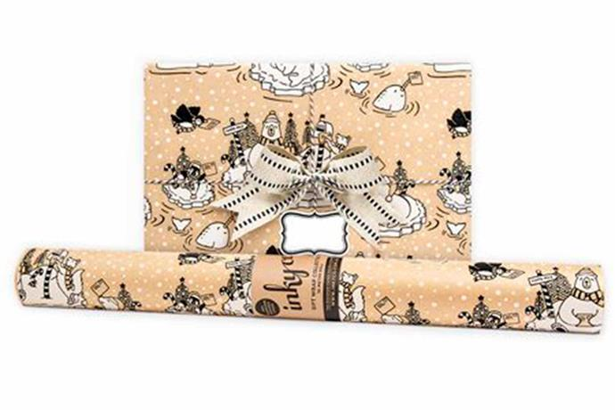 "North Pole wrapping paper, $16/roll, [Inky Co](https://www.inkyco.com.au/north-pole.html|target=""_blank""