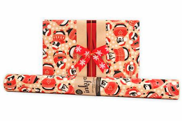 "Penguins Kraft wrapping paper, $16/roll, [Inky Co](https://www.inkyco.com.au/penguins-kraft.html|target=""_blank""