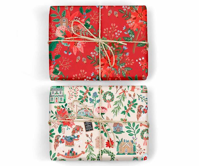 "Christmas Joy / Red Floral, $26.95/6 pack, [Bespoke Letterpress](https://bespokepress.com.au/|target=""_blank""|rel=""nofollow"")."