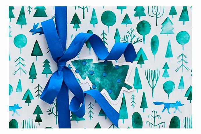 "Tinsel Forest Wrap in blue and green, $9.95, [Provincial Home Living](https://www.provincialhomeliving.com.au/christmas/gift-wrapping/tinsel-forest-wrap|target=""_blank""