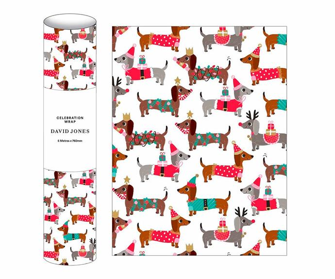 "Dachschund novelty wrapping paper, $9.95/roll, [David Jones](https://www.davidjones.com/home-and-food/home-furnishings/stationery/wraps/22049591/5M-NOVELTY-WRAP-DASCHUNDS.html|target=""_blank""