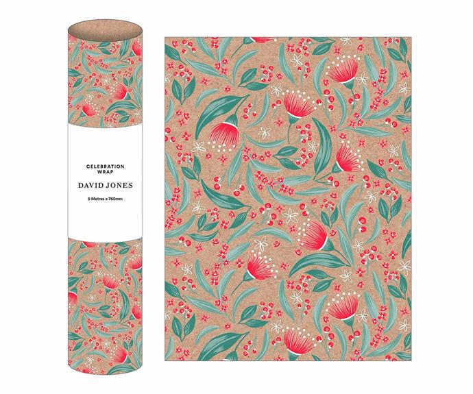 "Flowering gum celebration wrap, $9.95, [David Jones](https://www.davidjones.com/home-and-food/home-furnishings/stationery/wraps/22049160/5M-TRADITIONAL-WRAP-FLOWERING-GUM.html|target=""_blank""