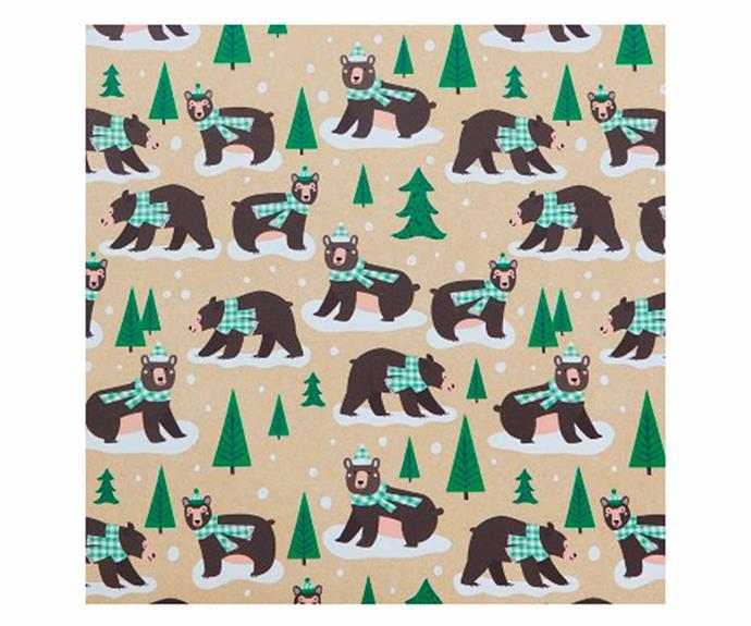 "BearChristmas Gift Wrap - Wondershop, $15/roll, [Target](https://www.target.com/p/4ct-deer-birch-bears-green-plaid-christmas-gift-wrap-wondershop-8482/-/A-54600158|target=""_blank""|rel=""nofollow"")."