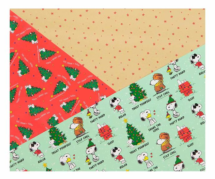 "2019 Christmas Roll Wrap 3 pack, $10, [Typo](https://cottonon.com/AU/2019-snoopy-christmas-roll-wrap-3pk/145383-03.html?dwvar_145383-03_color=145383-03&cgid=wrapping-paper-ribbon&originalPid=145383-03#start=5|target=""_blank""