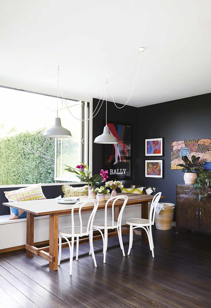 "Occupying a small corner of a generous [open-plan living space](https://www.homestolove.com.au/20-best-open-plan-living-designs-17877|target=""_blank""), the dining room in this [renovated miners cottage](https://www.homestolove.com.au/miners-cottage-renovation-geelong-18479
