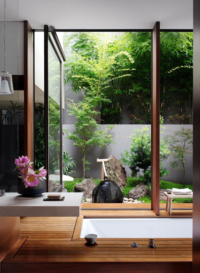 The ensuite is connected to a private internal courtyard. Kaldewei 'Centro Duo' bath from Bathe. Japanese garden by Ken Lamb of Imperial Gardens  and Mandara Landscapes.