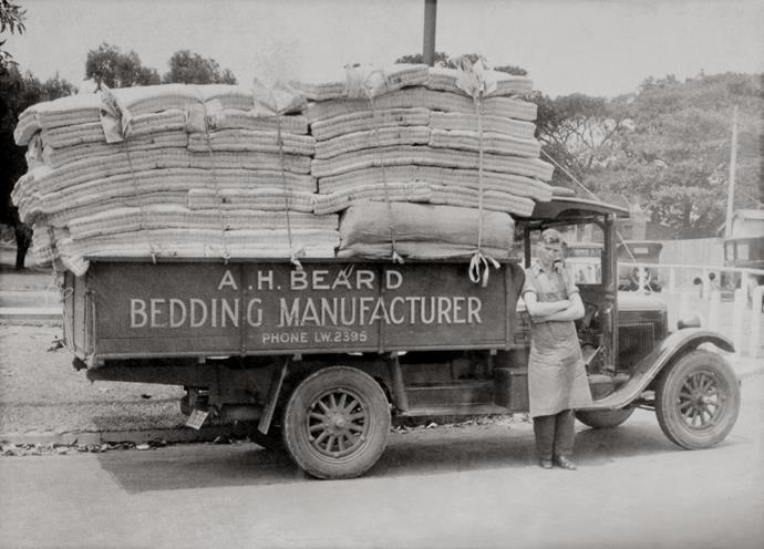 Delivering mattresses to Manly Hospital in 1933.