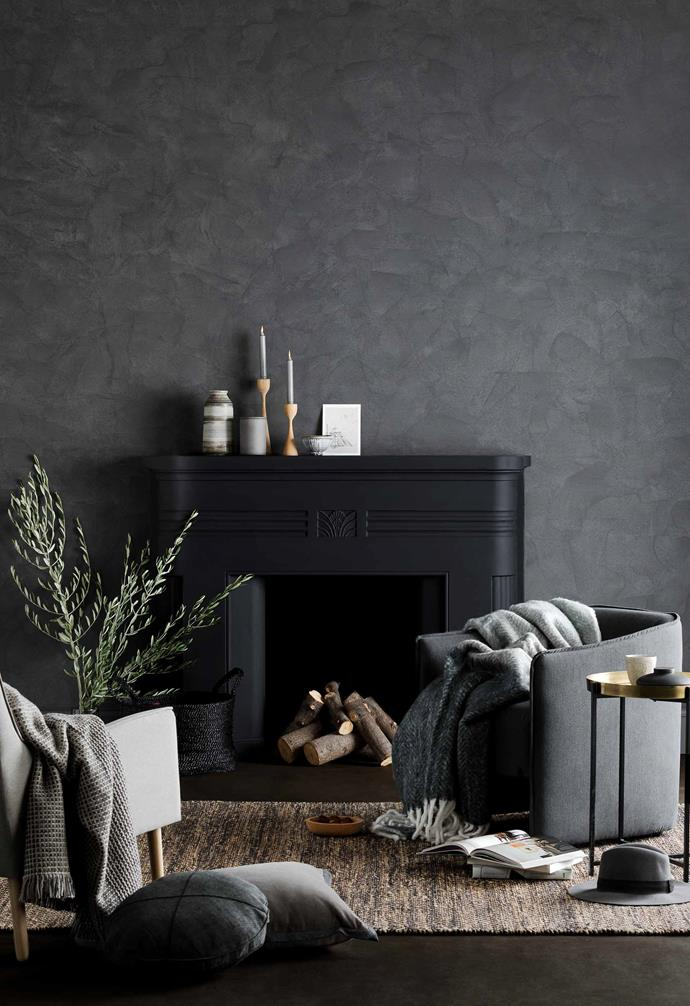 "Play with different dark tones in your space to create a cosy cocoon-ing effect. In this living room space [Haymes](https://www.haymespaint.com.au/|target=""_blank""