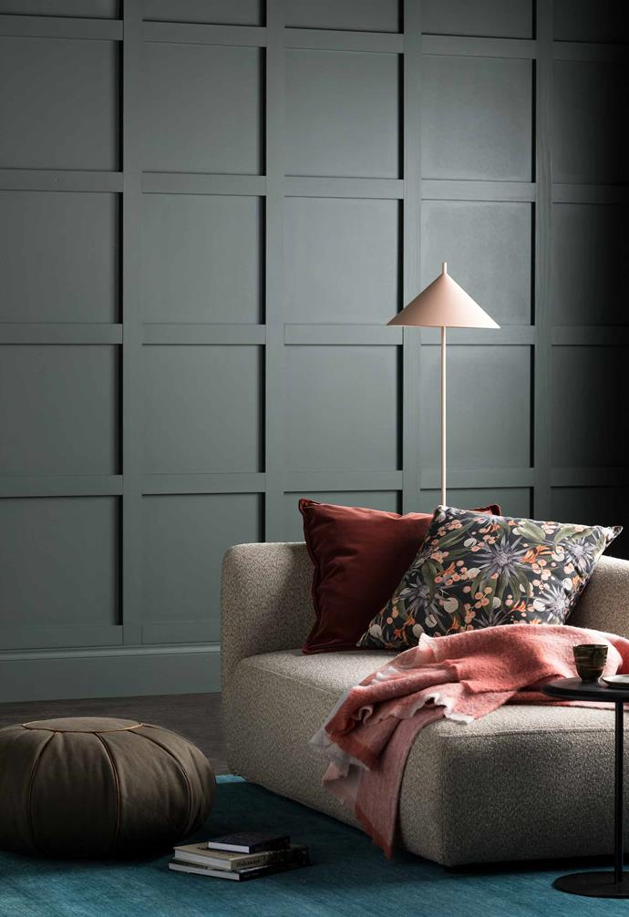 "Dark feature walls shouldn't be restricted to charcoals and midnight blues either, in this living room [Haymes](https://www.haymespaint.com.au/|target=""_blank""