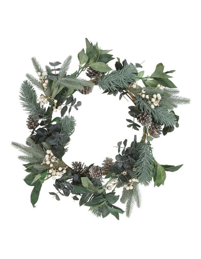 "*Australian House & Garden* Eucalyptus White Berries and Silver Plastic Pinecones wreath, $69.99, from [Myer](https://www.myer.com.au/p/eucalyptus-white-berries-and-silver-plastic-pinecones-leave-wreath-612033310|target=""_blank""