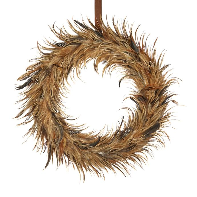 "Brown Feather wreath, $121, from [Amara](https://www.amara.com/au/products/feather-wreath-brown|target=""_blank""