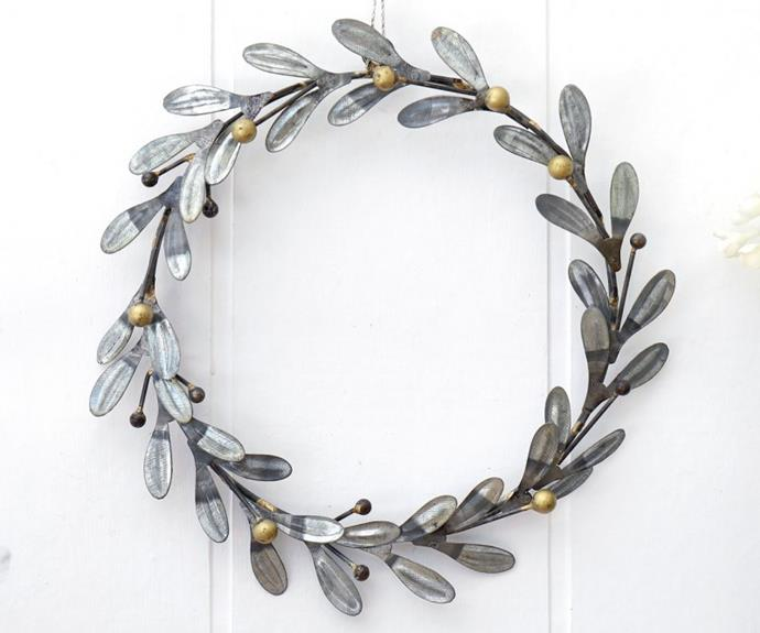 "Vintage Metal Mistletoe wreath, $34.95, from [French Knot](https://www.frenchknot.com.au/products.php?c=&p=8815|target=""_blank""