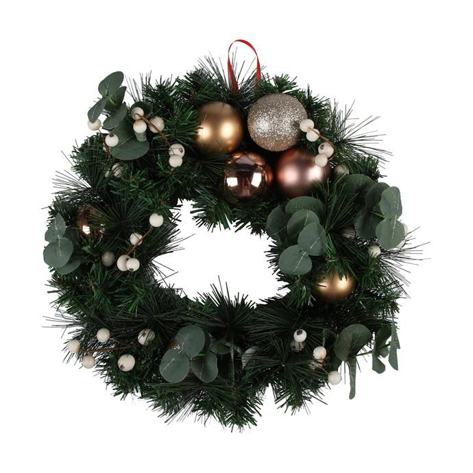 "Wreath with Baubles, $15, from [Kmart](https://www.kmart.com.au/product/wreath-with-baubles/2718371|target=""_blank""