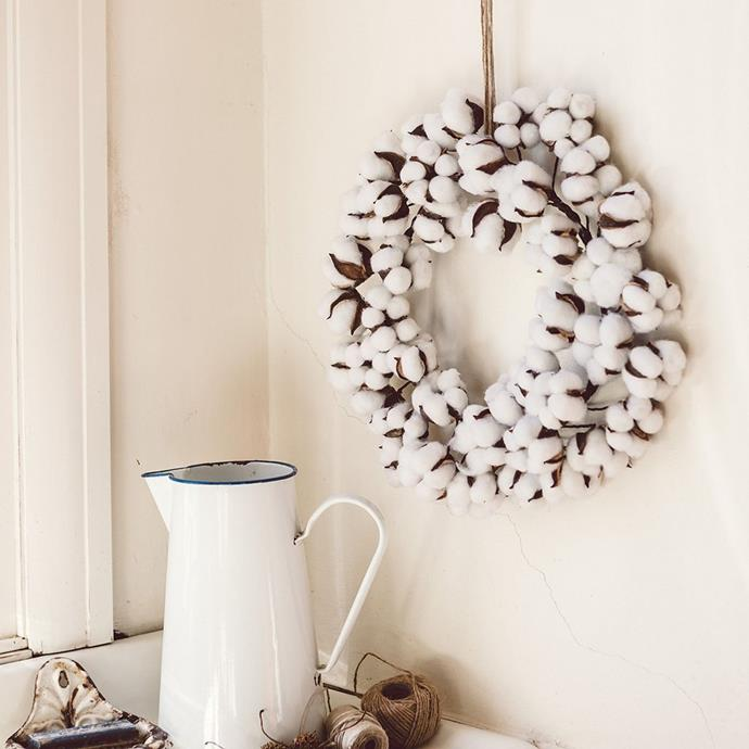 """Anzac Cotton wreath, $129.95, from [The Doors of Berry](https://thedoorsofberry.com.au/products/anzac-cotton-wreath?_pos=8&_sid=1640aad70&_ss=r
