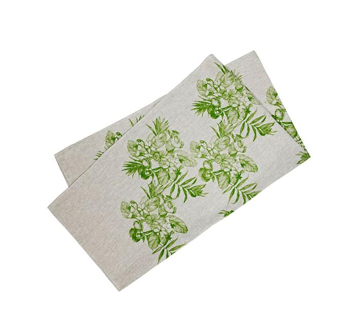 "Daintree green rectangular tablecloth, $245, from [Bonnie & Neil](https://bonnieandneil.com.au/products/daintree-green|target=""_blank""|rel=""nofollow"")"