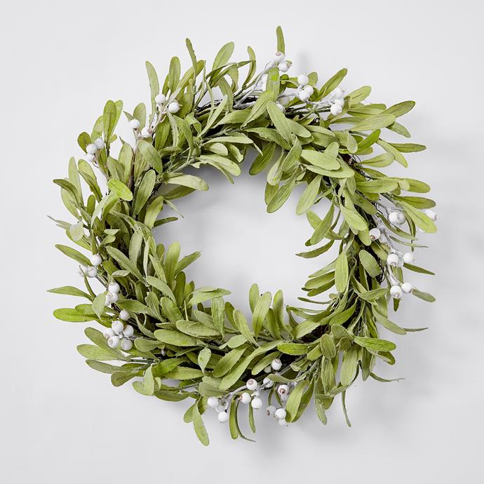 "Natural Nostalgia Green Vine Leaf wreath, $30, from [Target](https://www.target.com.au/p/natural-nostalgia-green-vine-leaf-wreath/62551342|target=""_blank""