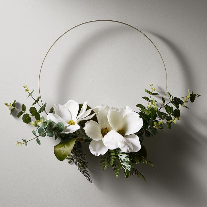 """Modern White Floral wreath, $29, from [Target](https://www.target.com.au/p/modern-white-floral-wreath/62833158