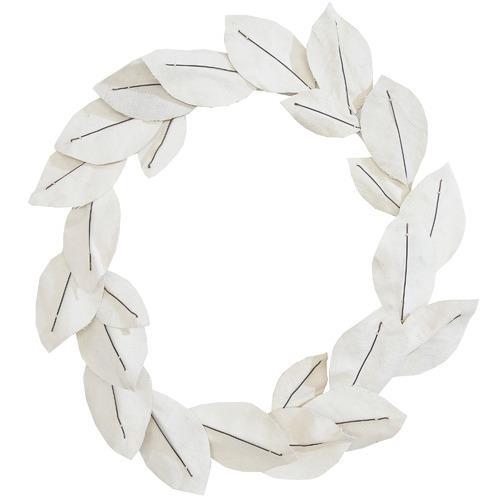 "Ivory Vintage Magnolia Leaf wreath, $149, [Temple & Webster](https://www.templeandwebster.com.au/40cm-Ivory-Vintage-Magnolia-Leaf-Wreath-FVV19NVJ600-VNVT1001.html|target=""_blank""|rel=""nofollow"")"