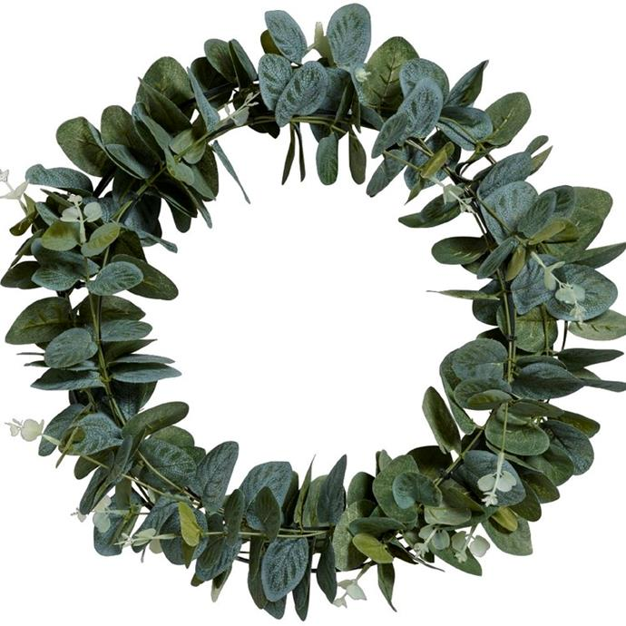 "Eucalyptus Leaves wreath, $40, from [Spotlight](https://www.spotlightstores.com/craft-hobbies/other-crafts/floristry/floral-embellishments/eucalyptus-leaves-wreath/80410066|target=""_blank""