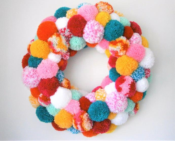 "Large Multi Coloured Yarn Pom Pom wreath, $321.44, from [Etsy](https://www.etsy.com/au/listing/565179210/large-multi-coloured-yarn-pom-pom|target=""_blank""